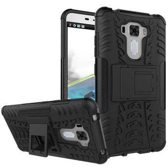 "Harga TPU/PC Dual Layer Case Hybrid Tough Rugged Armor Kickstand Cover for Asus Zenfone 3 Laser ZC551KL 5.5"" (Black) - intl"
