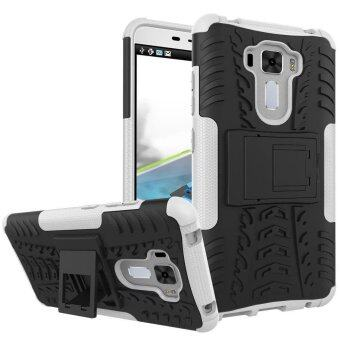 "Harga TPU/PC Dual Layer Case Hybrid Tough Rugged Armor Kickstand Cover for Asus Zenfone 3 Laser ZC551KL 5.5"" (White) - intl"