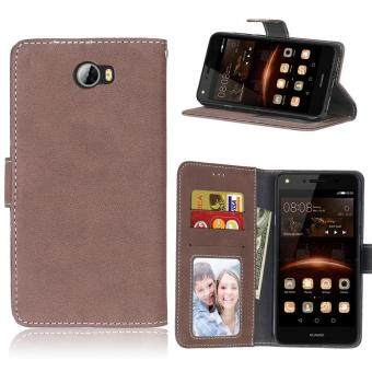Harga Y5 II / Y5 2 (2016) Case, SATURCASE Retro Frosted PU Leather Flip Magnet Wallet Stand Card Slots Case Cover for Huawei Y5 II / Y5 2 (2016) (Brown) - intl