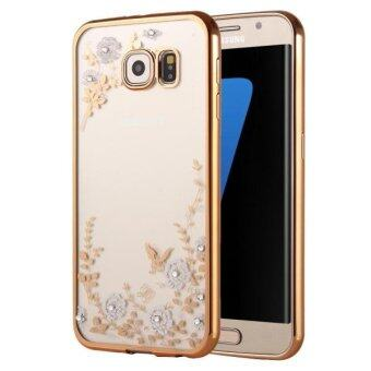 Harga SUNSKY Flowers Patterns Electroplating Soft TPU Protective Case for Samsung Galaxy S7 Edge / G935 (Gold) - intl