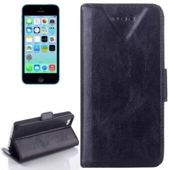 Harga SUNSKY Leather Case with Card Slot and Holder for iPhone 5C (Black) - intl