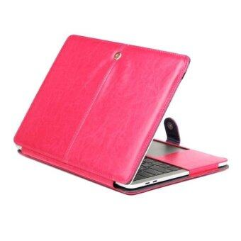 Harga For 2016 New Macbook Pro 13.3 Inch A1706 and A1708 Crazy Horse Texture Horizontal Flip Leather Case (Magenta) - intl