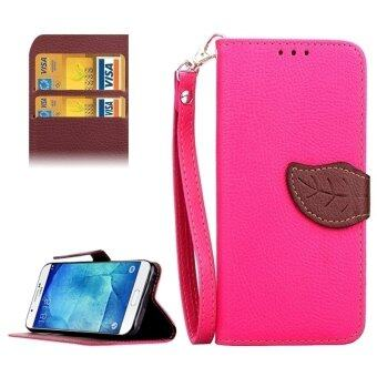 Harga Leaf Magnetic Snap Litchi Texture Horizontal Flip Leather Case with Card Slots & Holder & Lanyard for Samsung Galaxy A8 / A800(Magenta)