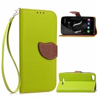 Harga Wiko Jerry Case, Unique Leaf Magnet PU Leather Flip Wallet Stand Hand Strap Card Slots Case Cover for Wiko Jerry (Green) - intl
