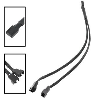 Harga 4-Pin Fan 4P Cable One Point Two Fan Y Splitter Black Sleeved Extension Cable - intl