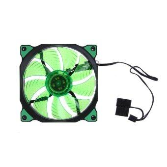 Harga 15 LED Lights Clear 120mm Quiet PC Case Cooling Fan Mod All Color(Green) - intl