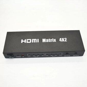 Harga HDMI Matrix 4x2 Switch (4 HDMI in 2 HDMI out) HDMI Splitter with Audio Out,Remote Control Support CEC, Deep Color 30bit, 36bit, Support 1080P, 3D CV0103