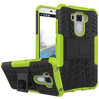 "Harga TPU/PC Dual Layer Case Hybrid Tough Rugged Armor Kickstand Cover for Asus Zenfone 3 Laser ZC551KL 5.5"" (Green) - intl"
