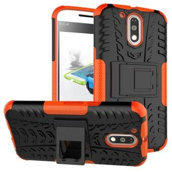 Harga Heavy Duty Rugged Hybrid Dual Layer Kickstand Shockproof Protective Case Cover for Motoroal Moto G4 / G4 Plus Case (Orange) - intl
