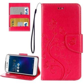 Harga For Asus Zenfone 3 Max and#8207;/ ZC520TL Butterflies Love Flowers Embossing Horizontal Flip Leather Case With Holder and Card Slots and Wallet and Lanyard(Magenta) - intl