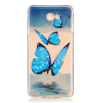 Harga Case for Samsung Galaxy J7 Prime Soft Silicon Clear Back Case - Blue Butterfly - intl