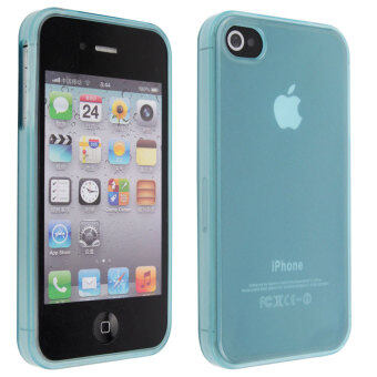 Harga Leegoal Frost Clear Blue Inside Rubber TPU Outside Skin Case Cover for iPhone 4 4S - intl