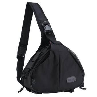 moob Waterproof Crossbody Single Shoulder Nylon Bag for Camera Canon 600D D600 7D 5D2 60D and Nikon D90 D60 D700 D7000Black