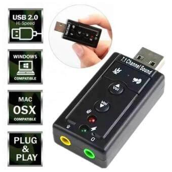 ราคา JJ ซาวน์การ์ด ยูเอสบี คอมพิวเตอร์ โน็ตบุ๊ค พกพา อเนกประสงค์ USB Sound Adapter External USB 2.0 Virtual 7.1 Channel-Black