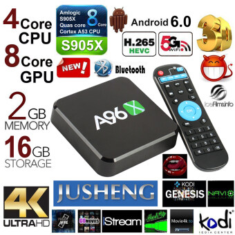JUSHENG A96Z Android 6.0 TV Box 2G/16G Amlogic S905X Quad Core CPUKodi 16.0 Fully Loaded TV Box 4K Dual Band Wifi Bluetooth 4.0 SPDIFTV Stick Streaming Media Player