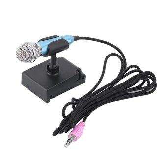 KH ไมโครโฟนจิ๋ว คาราโอเกะ (Mini Microphone Karaoke)สำหรับโทรศัพท์มือถือ, แท็บเล็ต, โน๊ตบุ๊ค รุ่นมีขาตั้งไมค์(สีน้ำเงินอมฟ้า)