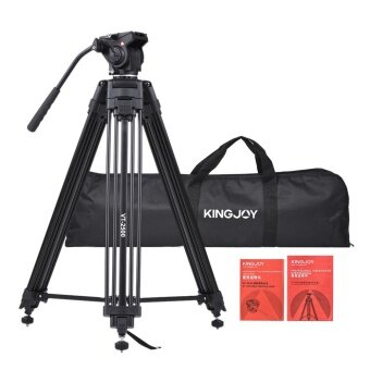 Kingjoy VT-2500 152cm/5ft Camera Camcorder Tripod with 360 Fluid Damping Head/ Stable Middle Support/ Nail Foot Mg-Al Alloy Max. Load 8kg/18Lbs with Carry Bag for Canon Nikon Sony DSLR ILDC - intl