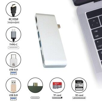 Kobwa Type-C USB 6 In 1 Combo Hub Multi-Port Adapter With 2 USB 3.0 PortsType-C Pass ThroughHDMI 4KUSB-CSD/Micro SD Charging Port Card Reader For Laptop - intl