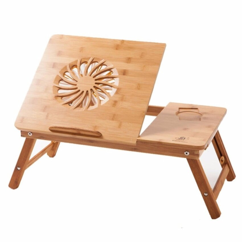 Laptop Desk Super Top Laptop Table 100% Bamboo Desk Adjustable with USB Fan2 Foldable Breakfast Serving Bed Tray Drawer - intl