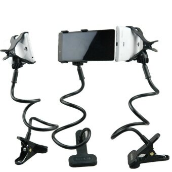 LeadSea 360 Rotating Lazy Mobile Phone Clip Holder Desk Bed TableStand Mount For IPhone Black