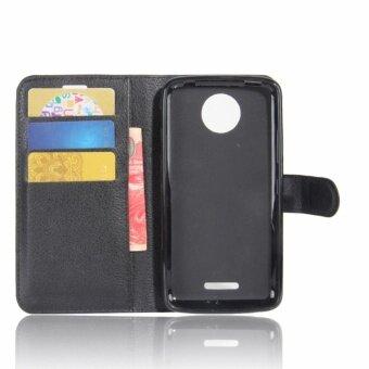 Leather Flip Cover Phone Case Wallet Card Holder For Motorola MotoC 2017 (
