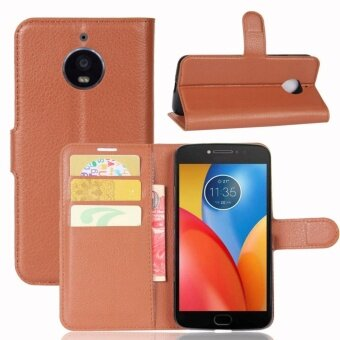 Leather Flip Cover Phone Case Wallet Card Holder For Motorola MotoE4 Plus (Brown) - intl