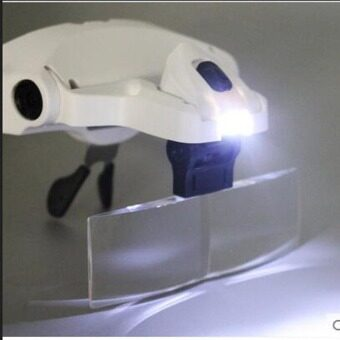 แว่นตาแว่นขยาย ไฟ LED 2 ดวง พร้อมเลนส์แว่นปรับขยายถึง3.5เท่าฟรีอีก 5 อัน - 2
