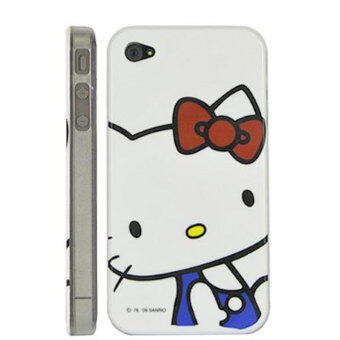 Leegoal White and Blue Cat Printing Hard Case Cover for iPhone 4 4S - intl