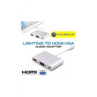 เสนอราคา Lightning to Digital AV Video HDMI/HDTV/VGA/Audio cable Adapter For iPhone 6 6S 7 7 Plus Ipad Air Mini pro projector