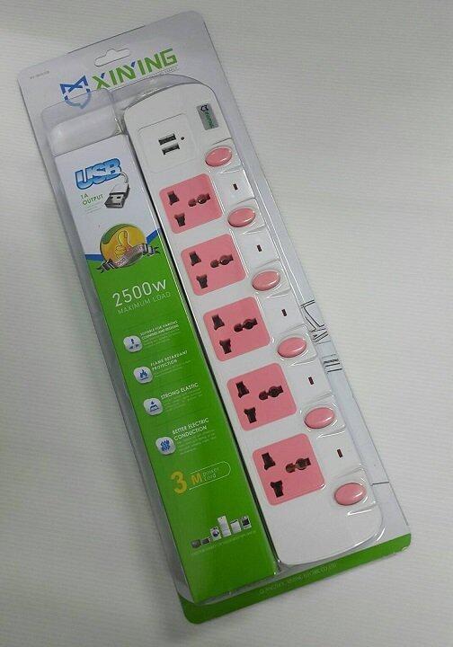 Lotte รางปลั๊กไฟ 5 ช่อง + 2 USB สวิตซ์แยก ยาว 3 เมตร (White)