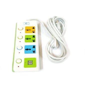 Lotte Colorful Serie รางปลั๊กไฟ 3 ตา + USB 2 ช่อง พร้อมสวิตท์เปิด-ปิด 2in1 (White)