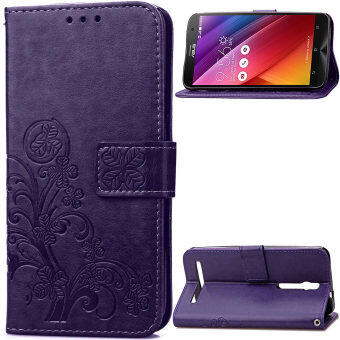 "Harga Lucky Clover PU Leather Flip Magnet Wallet Stand Card Slots CaseCover for Asus Zenfone 2 Laser ZE500KL 5.0"" Purple - intl"