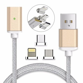 Magnetic clip-on USB Fast Charging and High Speed data transferis Braided Cable 3-in-1 Magnetic Lighting/Micro USB/Type-C Mini Metal connector(1 Magnetic Charging data Cable, 1 Lighting connector, 1 Micro USB connector and 1 Type-C connector) - intl