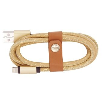 MegaLink Lightning Charging Data Cable With PU Leather Braided String For IPhone IPad IOS (Color:Gold)