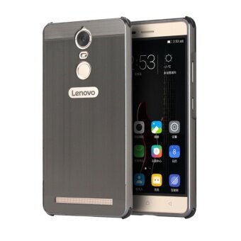 Metal Bumper Wire Drawing Back Cover Case For Lenovo K6 Note(Black) - intl