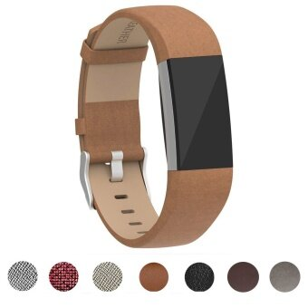 Miimall Fitbit Charge 2 Band Genuine Leather Replacement Wristbands Strap With Metal Connectors for Fitbit Charge 2 Fitness Strap - intl