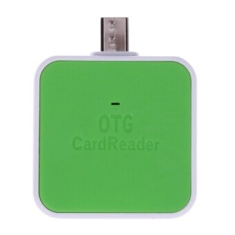 Mini 2-in-1 Micro USB 2.0 OTG Adapter SD TF Card Reader for Android(Green) - intl