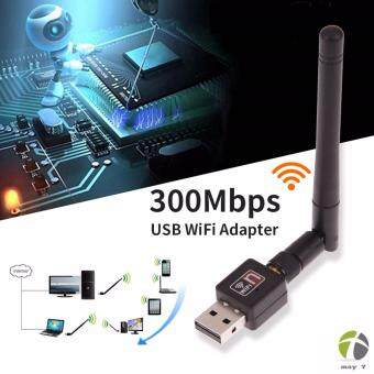 mini wifi adapter Mini USB WiFi 300Mbps Wireless Adapter 300M Computer LAN Card 802.11n/g/b with Network Card Antenna (Black)