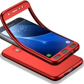 MOONCASE Full-Body Case Shockproof Soft TPU Matte Finish Slim Cover2 in 1 Full Coverage Protection with Tempered Glass ScreenProtector for Samsung Galaxy J7 2016 Red - intl