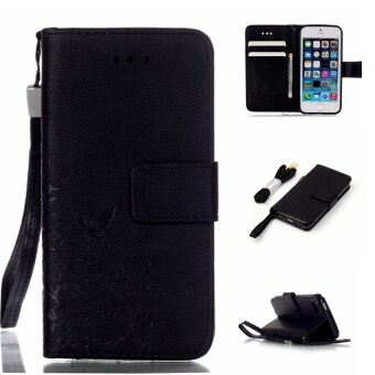 Moonmini PU Leather Case Flip Stand With Wallet Card Slots CoverFor Apple iPhone SE 5SE 5 5S (Black)
