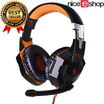 niceEshop แต่ละ G2000 คอมพิวเตอร์แล็ปท็อปมืออาชีพผ่านหูชุดหูฟังสเตอริโอเล่นเกมหูโทรศัพท์ด้วยไฟ led แสดงผลไมโครโฟน (สีดำส้ม)