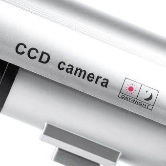 niceEshop กันน้ำกลางแจ้งปลอมกล้อง Dummyการรักษาความปลอดภัยที่มีไฟกระพริบสีเงิน (image 4)