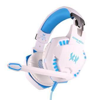 niceEshop แต่ละ G2100 ฟังก์ชันพีซีโน้ตบุ๊คแบบสั่นหูโทรศัพท์เกมเกมชุดหูฟังกับไมค์เล่นเบสไฟ led (สีน้ำเงินขาว)