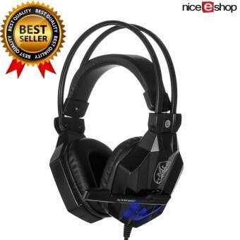 NiceEshop Soyto 850 3.5 มมเกมเกมชุดหูฟังหูฟังสายหูฟังกับไมโครโฟนไฟนำสำหรับโน้ตบุ๊ค (สีดำ)