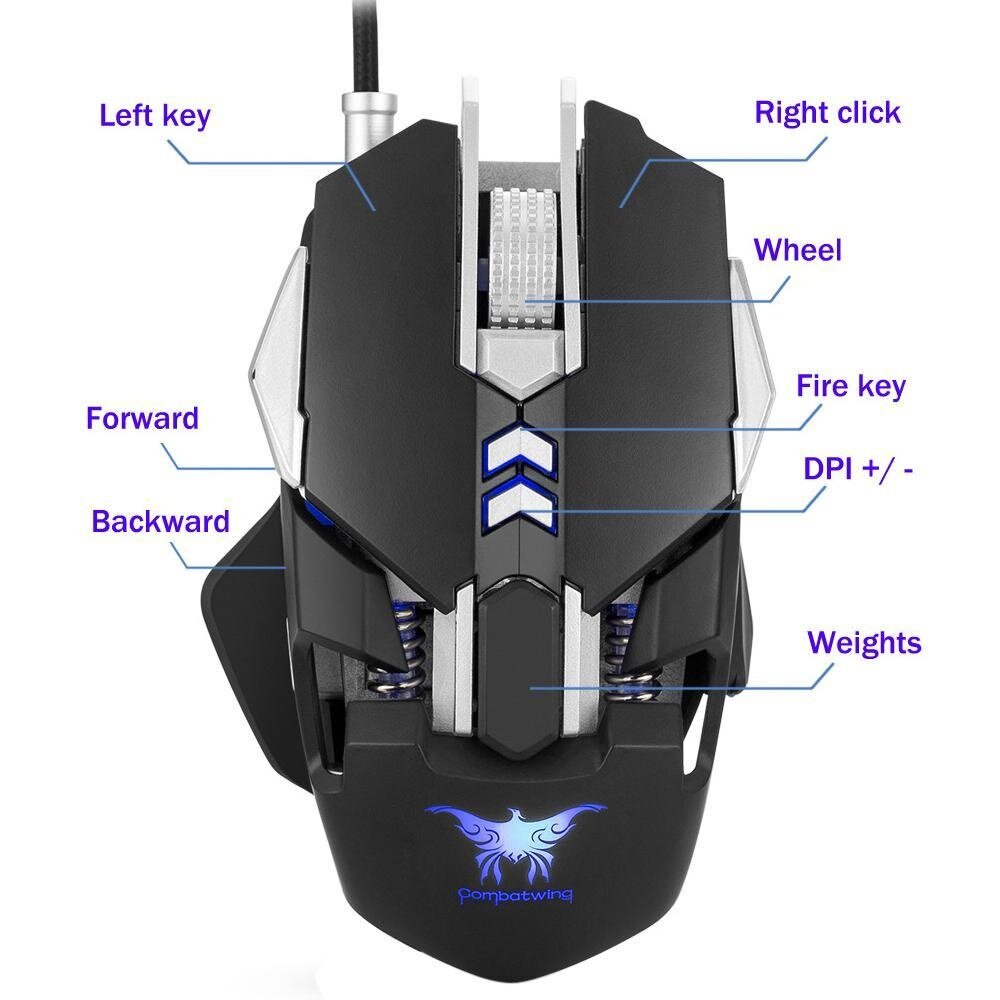 Joox Combaterwing 10 Buttons Dpi Optical Usb Professional Gaming Razer Anansi Mmo Keyboard Rz03 00550100 R3m1 Niceeshop Wired Mouse Mice Ergonomic Esports 7buttons 3200 4