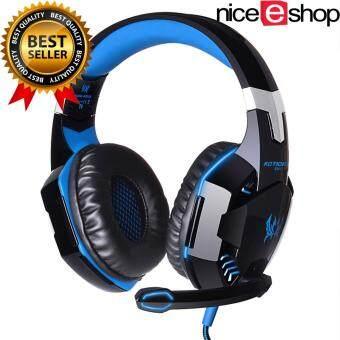 niceEshop แต่ละ G2000 คอมพิวเตอร์แล็ปท็อปมืออาชีพผ่านหูชุดหูฟังสเตอริโอเล่นเกมหูโทรศัพท์ด้วยไฟ led แสดงผลไมโครโฟน (สีน้ำเงินสีดำ)