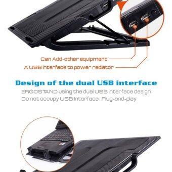 NoteBook Stand & Cooling Padพัดลมระบายความร้อนโน๊ตบุ๊คปรับระดับได้ (สีดำ)ฟรีแผ่นรองเมาส์ (image 4)