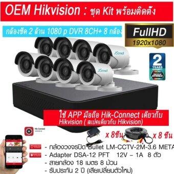 รีวิวพันทิป OEM Hik Vision ชุดกล้องวงจรปิดกล้อง CCTV 8 ตัว ทรงกระบอก 2.0 MP1080p Full HD พร้อม เครื่องบันทึก 8 ช่อง 4 in1 DVR AHD TVI CVIประกัน 2 ปีจาก Synnex