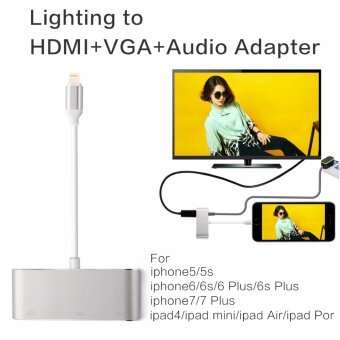 Original Lighting to HDMI/VGA/CVBS(AV)/3.5mm Audio Adapter รองรับ IOS 8/9/10/11 with Micro USB Power Supply for iPhone 7 Plus 6s 6 Plus 5 5s iPad 4 mini