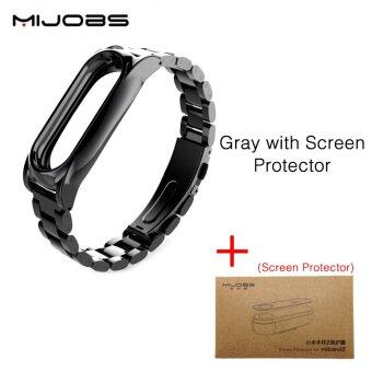 Original Mijobs Metal Strap For Xiaomi Mi Band 2 Straps ScrewlessStainless Steel Bracelet Replace Accessories For Mi Band 2 - WithFilm - intl